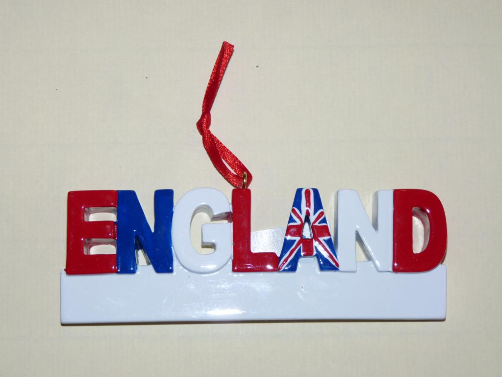 Decoration showing the word england written in red white and blue